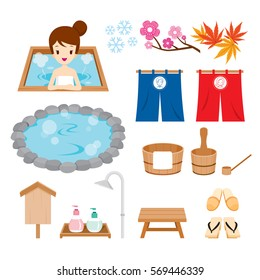 Hot Spring Objects Icons Set, Bath, Onsen, Japanese, Culture, Healthy, Season, Body