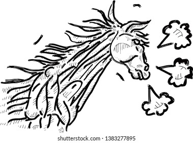 A hot stallion huffing and puffing. Hand drawn vector illustration.