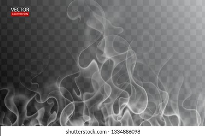 Hot steam over cup on dark or transparent background. White cigarette smoke wave. Set of fume on water, tea, food, coffee, ice. Vapor, mist, cloud, gas, fog vector illustration. Hazy fragrance on ice