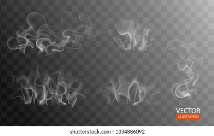 Hot steam over food on dark or transparent background. White cigarette smoke wave. Set of fume on water, tea, food, coffee, ice. Vapor, mist, cloud, gas, fog vector illustration. Hazy fragrance on ice