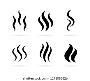 Hot steam vector icon isolated on white background