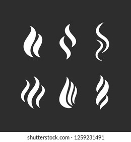Hot steam vector shapes isolated on black background