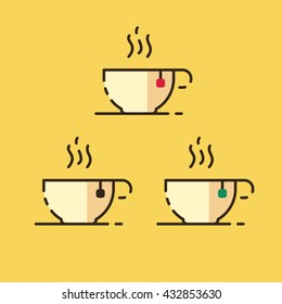 Hot steaming tea icons. Green red and black. Vector stroke flat style.
