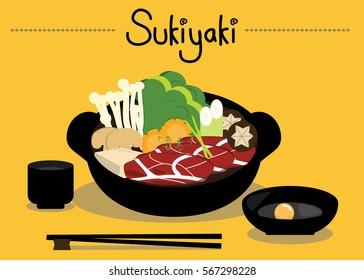 Hot Sukiyaki, shabu. Illustration design.