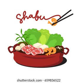 Hot Sukiyaki Shabu on white background. Illustration vector
