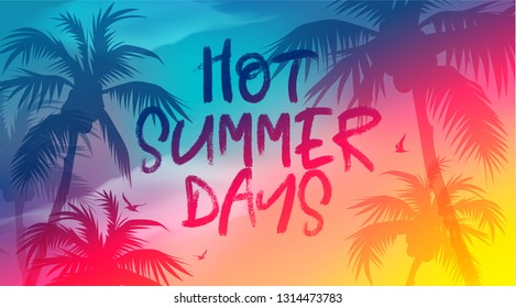 Hot Summer Days banner. New trendy realistic sand and sea texture. Season vocation, weekend, holiday logo. Summer Time Wallpaper. Happy shiny Day. Vector Lettering. Fashionable styling. Traveling.