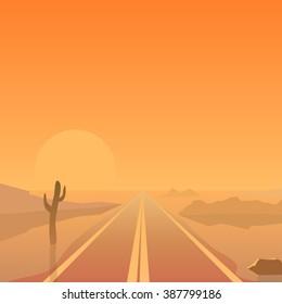 Hot summer desert landscape with straight road