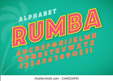 Hot summer display font design, alphabet, letters and numbers. Swatch color control