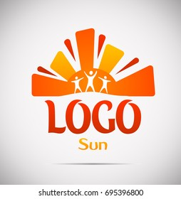 Hot summer hand drawn sun logo with siluets of people. Vector illustration isolated on gray gradient background.