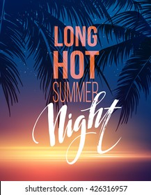 Hot Summer Night Party Poster Design with typographic elements on the sea beach background . Vector illustration EPS10