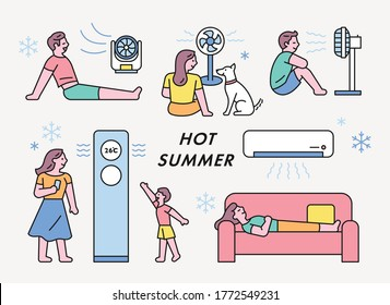 Hot summer people are feeling the cool breeze in front of air conditioners and fans. flat design style minimal vector illustration.
