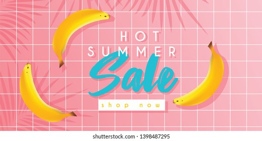 Hot summer sale banner with bananas or poster template