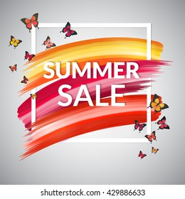 Hot Summer Sale Banner design for promotion, store, retail. Frame, vector brush strokes  and butterflies. Colorful red, yellow and orange background.  Isolated