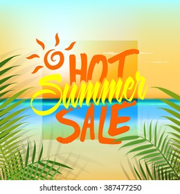 Hot Summer Sale Banner, Sale Poster, Sale Flyer, Sale Vector. Vector illustration.
