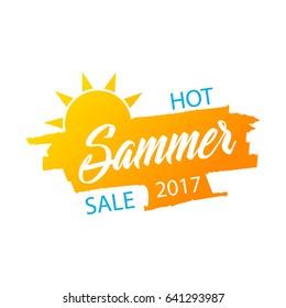 Hot summer sale banner, stylish vector design on white background