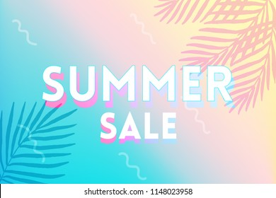 Hot Summer Sale banner. Trendy texture. Season vocation, weekend, holiday logo. Summer Time Wallpaper. Happy shiny Day. Modern vector Lettering.