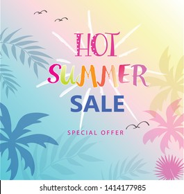 Hot Summer Sale banner. Trendy texture. Season vacation, weekend, holiday logo. Summer Time Happy Modern vector Lettering. Fashionable styling. Beautiful sky in the summer