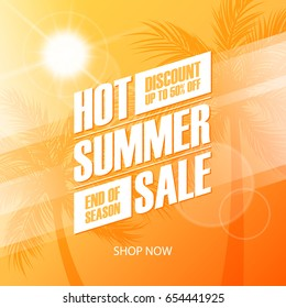Hot Summer Sale special offer banner for business, promotion and advertising. Vector illustration.