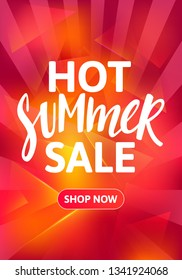 Hot Summer Sale Vertical Banner Design. Hand Drawn Text on Bright Colorful Background. Vector Advertising Illustration.