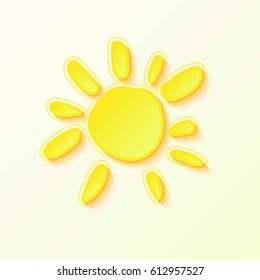 Hot Summer Sun with yellow rays on sky.