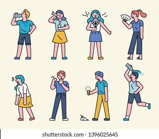 Hot summer sweaty people. Drinking water, fanning. flat design style minimal vector illustration