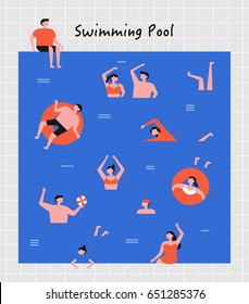 hot summer swimming people vector illustration flat design