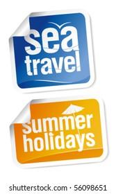 Hot summer travel stickers set