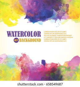 Hot summer watercolor background with bright colors for decorative design.