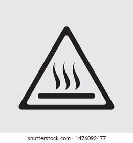 Hot surface warning flat vector icon, sign