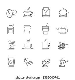 Hot tea and coffee icon set