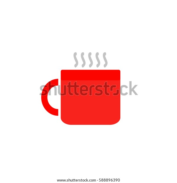 Hot tea cup. Color symbol icon on white background. Vector illustration