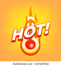 Hot with thermometer, Special offer, summer discount banner.