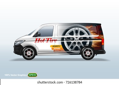 Hot tire van template. With advertise, editable layout.