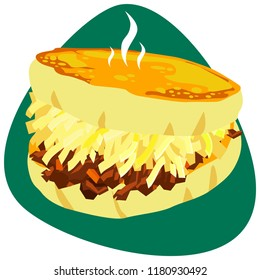 Hot toasted Arepa with white cheese and pulled beef on napkin and green background