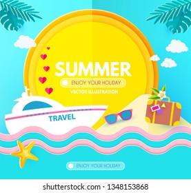Hot Vacation Design Template. Summer Travel. Enjoy Sea Holidays. Vector illustration