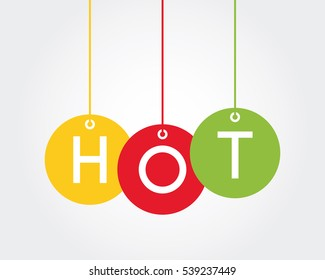 Hot, vector banner hanging ball style