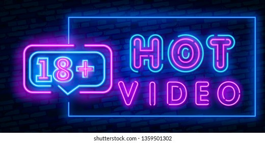 Hot Video, night sign in neon style. Neon sign, a symbol for sex video promotion. Adult Store. Bright banner, nightly advertising. Vector Illustration