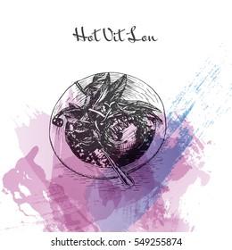 Hot Vit Lon watercolor effect illustration. Vector illustration of Vietnamese cuisine.