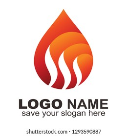 Hot water logo,  Water drop fire logo - Vector