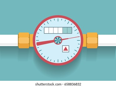 Hot water meter icon in flat style vector illustration.