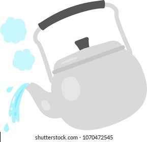 Hot water poured from a kettle