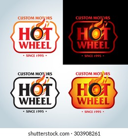 Hot Wheel in Fire flame Vintage Logo design vector template. Car Logotype. T-shirt design. Concept icon for race, auto repair service, tire shop.