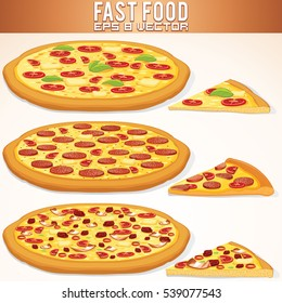 Hot Whole Pizza Set Vector. Margarita, Pepperoni and Meat Pizzas