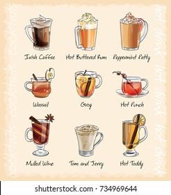hot winter cocktails menu. vector illustration