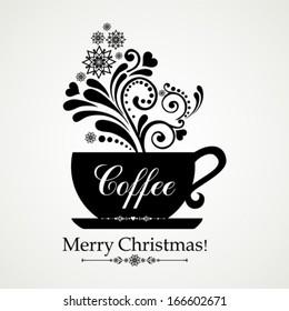 Hot winter coffee. Christmas menu design. Vector Illustration