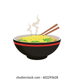 hot yellow noodle soup in chinese bowl and chopstick on white background. vector illustration