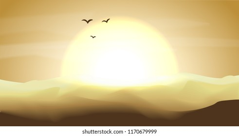 Hot yellow and orange empty desert panoramic landscape with dunes and sunset, sundown in gold yellow colors. Calm desert background, dune and hills. Game deserts scene with big sun, birds and clouds