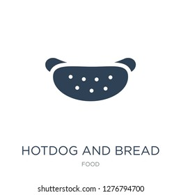 hotdog and bread icon vector on white background, hotdog and bread trendy filled icons from Food collection, hotdog and bread vector illustration
