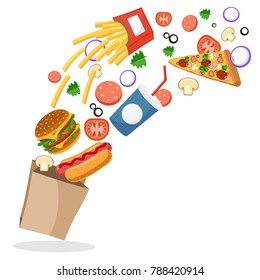 Hotdog, Burger, French fries, pizza and vegetables fly in the package.