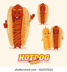 hotdog character in various action with typographic design. funny food - vector illustration